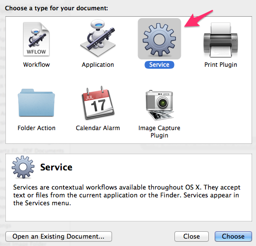 Automator New Service WIndow