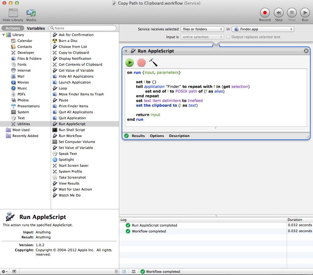 Automator Full Screen Shot