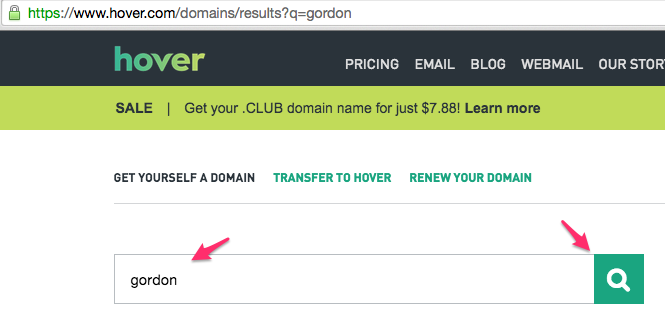 Example of Hover Domain Name Searching on Gordon